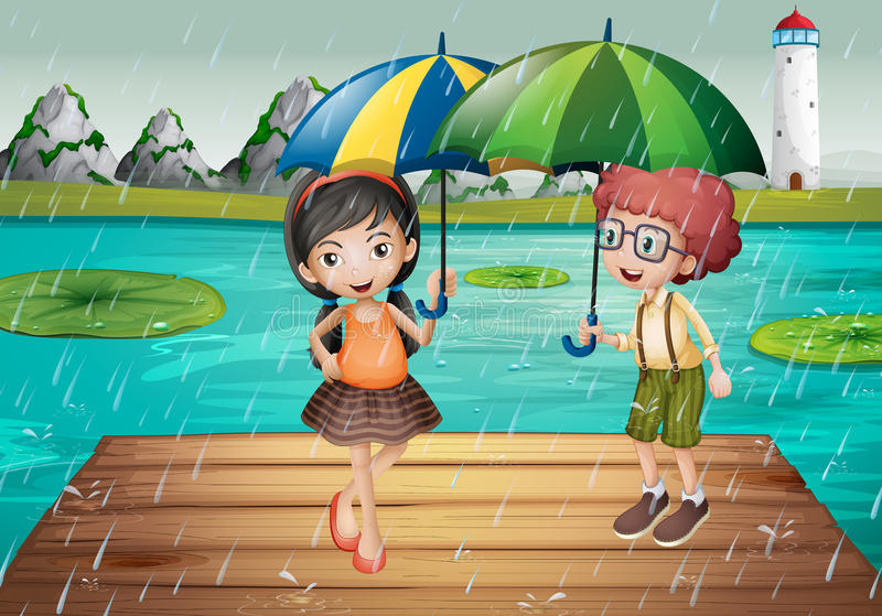 Kids being in the rain stock illustration