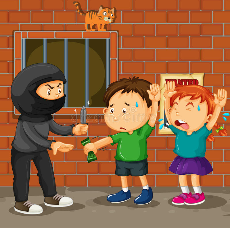 Kids being robbed on the street vector illustration