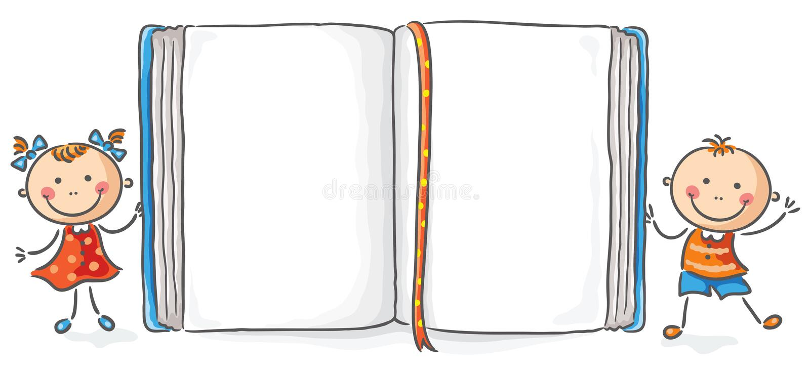 Kids with a big book. With copy space royalty free illustration