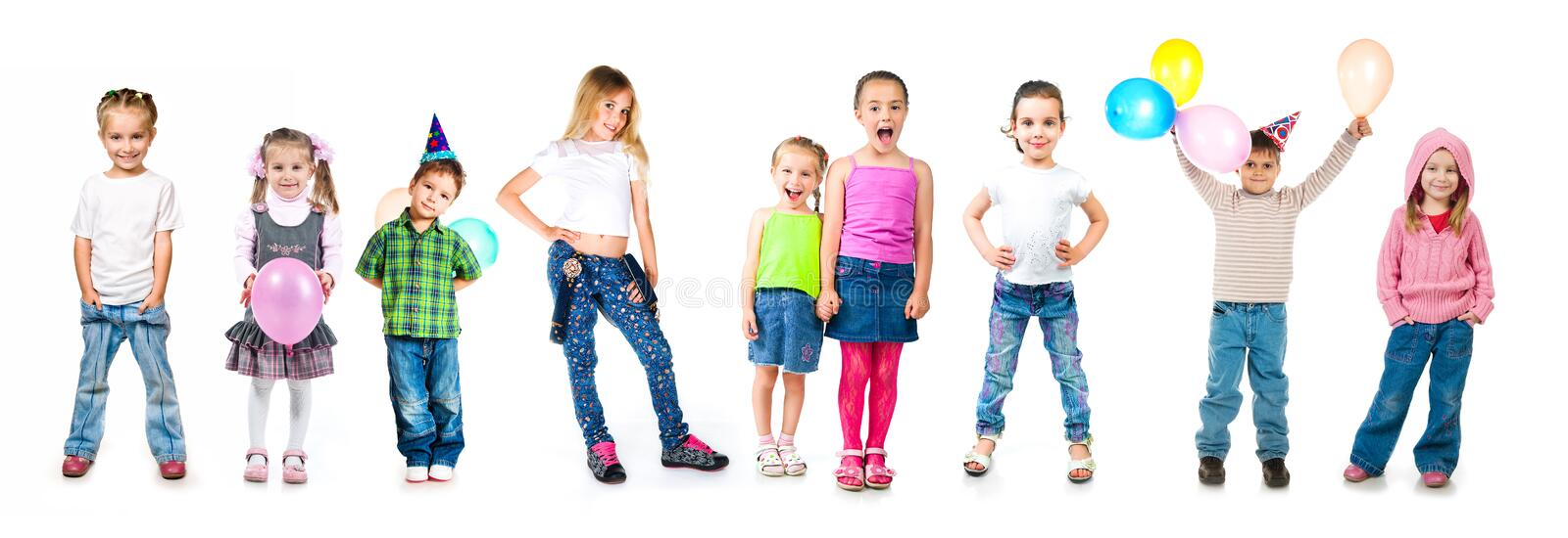 Kids in birthday caps isolated stock images