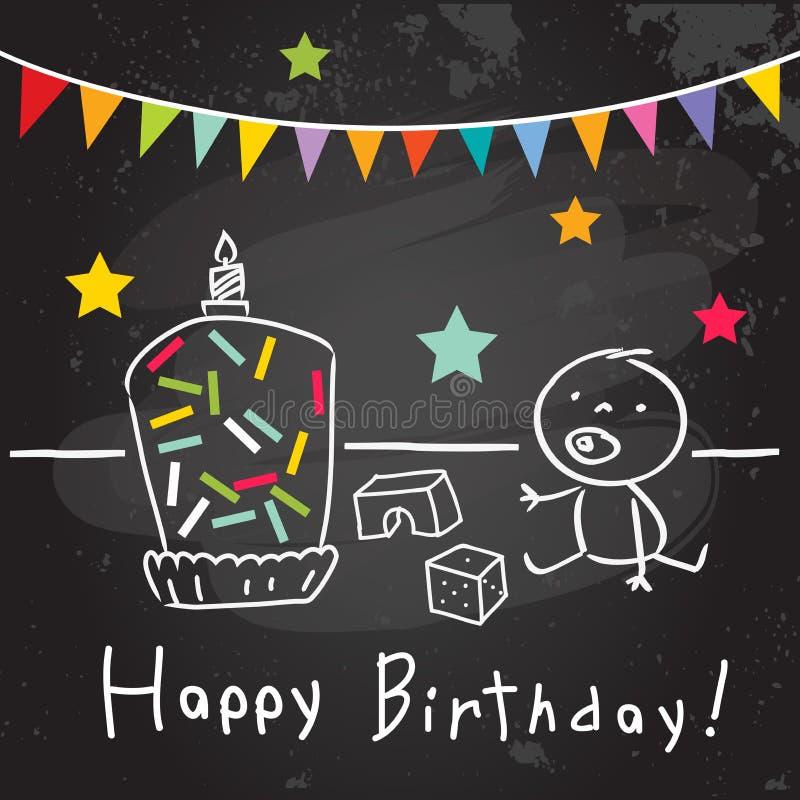 Kids birthday greeting card stock illustration