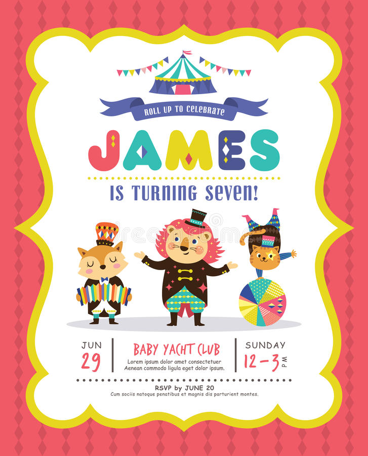 Kids Birthday Invitation Card Stock Vector Illustration Of