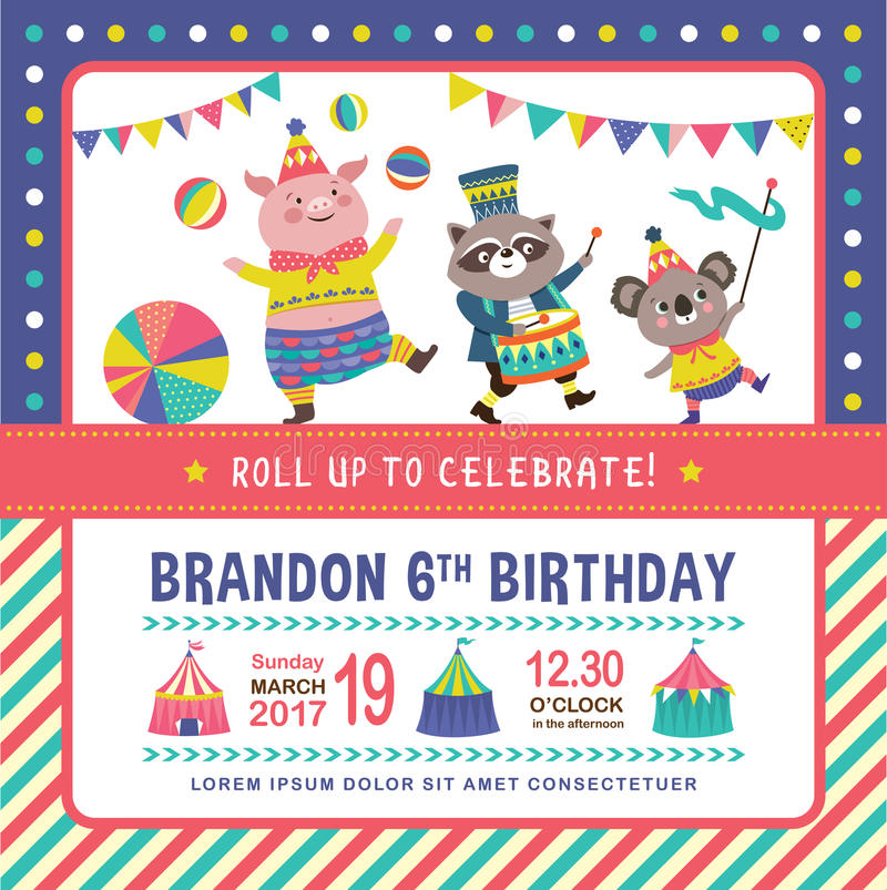 Kids birthday invitation card stock vector illustration of cartoon download kids birthday invitation card stock vector illustration of cartoon design 91699050 stopboris Images