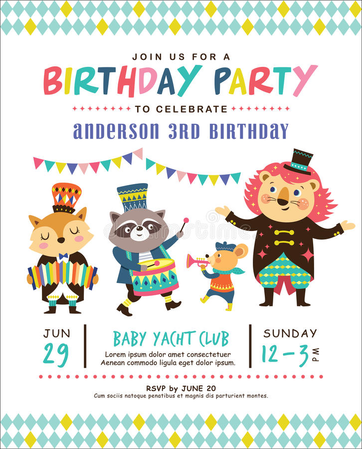 Kids birthday invitation card stock vector illustration of show download kids birthday invitation card stock vector illustration of show circus 91699058 stopboris Images