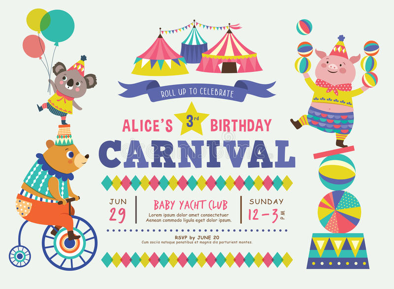 Kids birthday invitation card stock vector illustration of download kids birthday invitation card stock vector illustration of colorful tent 91699064 stopboris Images