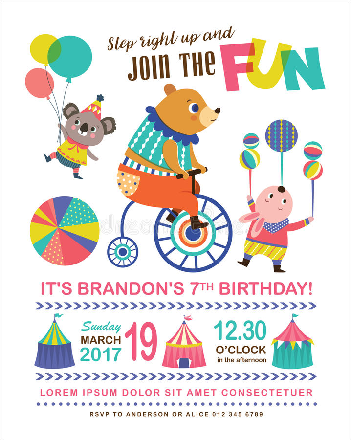 Kids birthday invitation card stock vector illustration of koala download kids birthday invitation card stock vector illustration of koala animal 91699081 stopboris Images