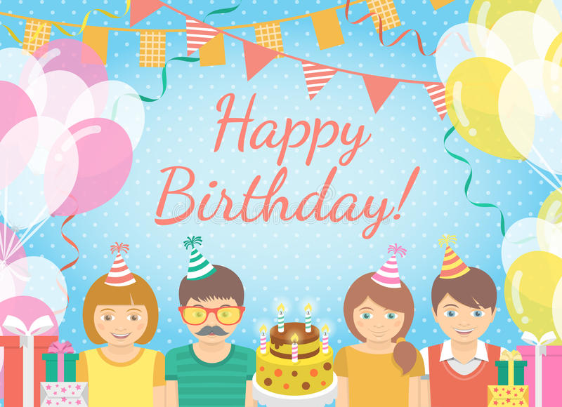 Kids Birthday Party Background. Modern flat colorful vector birthday party background with group of kids in festive caps and balloons, garlands, flags, streamers royalty free illustration