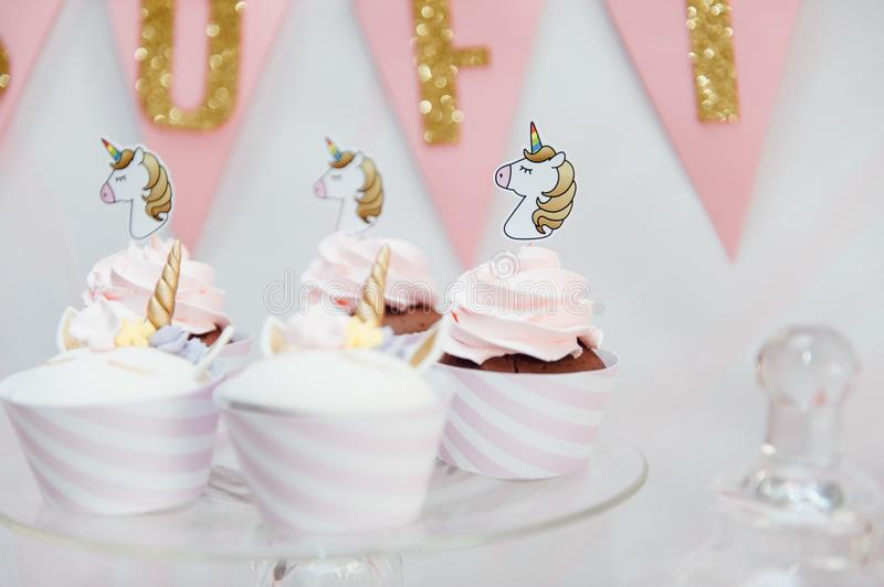 Kids birthday party decoration and cake. stock images