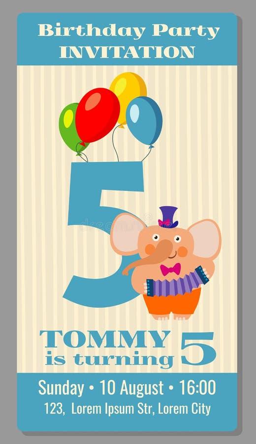 Kids birthday party invitation card vector illustration stock illustration