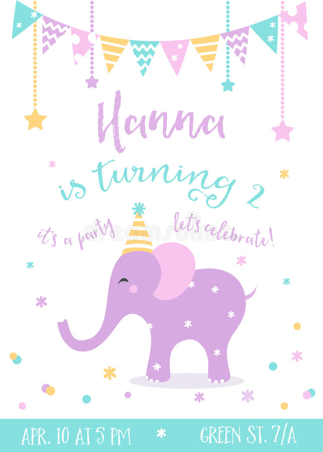 Kids Birthday Party Invitation With Garlands And Baby Elephant Stock ...