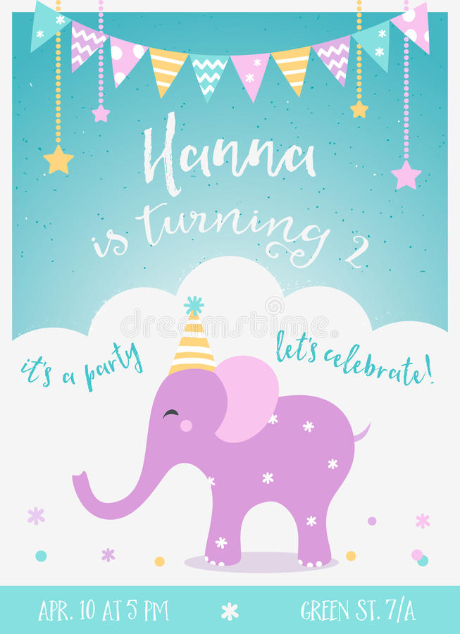 Kids Birthday Party Invitation with Garlands royalty free illustration
