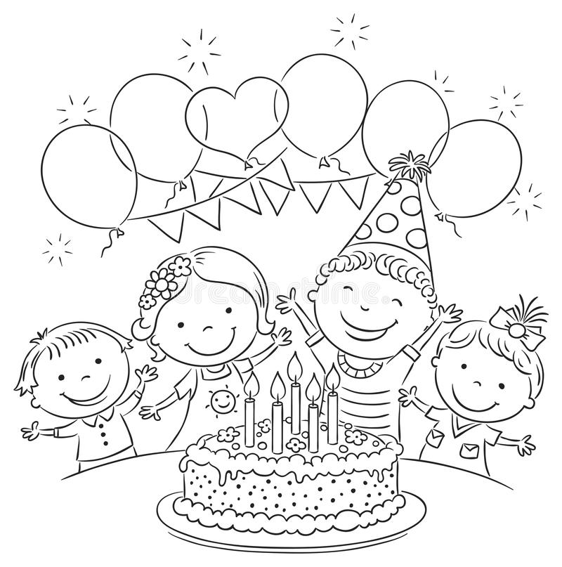 Kids Birthday Party Outline Stock Vector - Illustration of candles ...