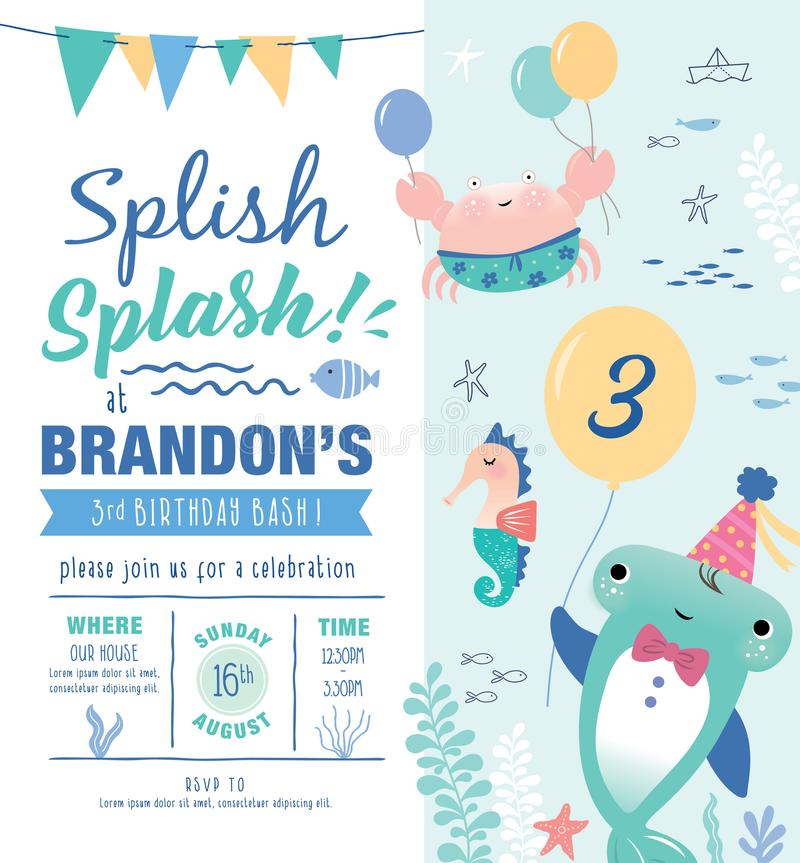 Kids Birthday Party Invitation Card Stock Vector - Illustration of ...
