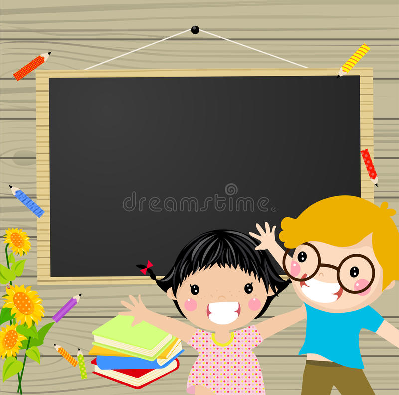 Kids and blackboard vector illustration