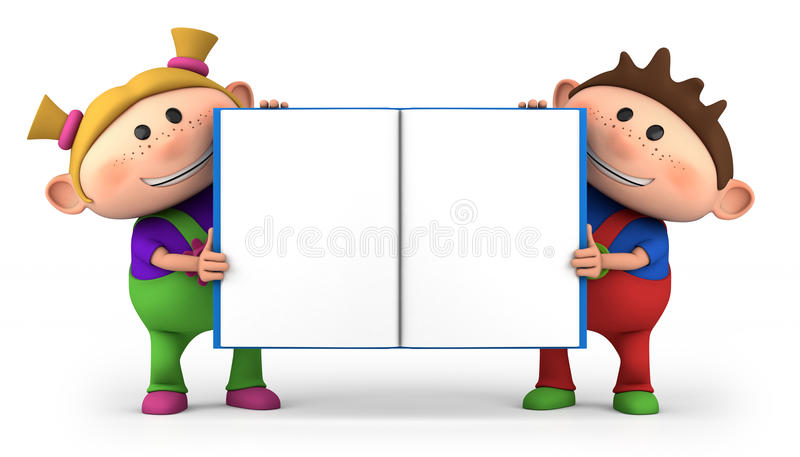 Download Kids with blank open book stock illustration. Illustration of school - 24245932
