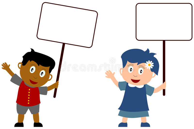 Kids and Blank Sign [1] vector illustration