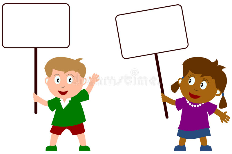 Download Kids and Blank Sign [2] stock vector. Image of funny, girl - 6326852
