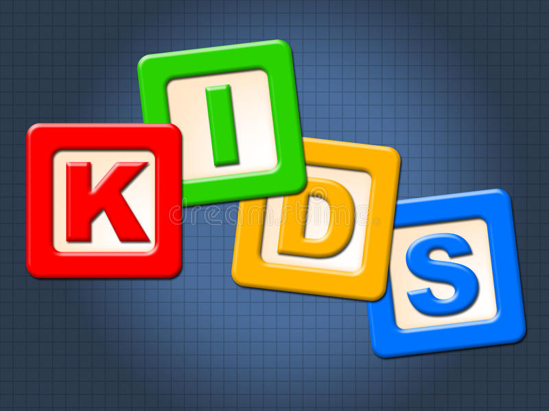 Kids Blocks Indicates Mailing Youngsters And Mailed. Kids Blocks Showing Envelope Mail And Youth royalty free illustration