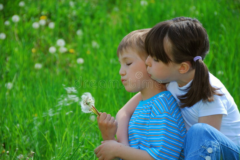 Kids blowing dandelion seeds. A cute view of a young brother and sister blowing dandelion seeds in a lush green field royalty free stock photo