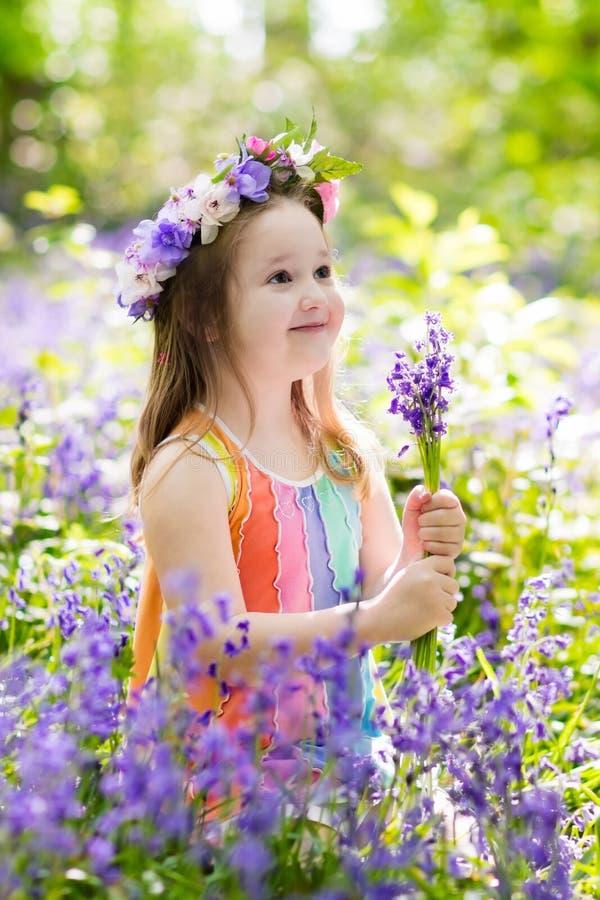Download Kids in bluebell garden stock image. Image of kids, britain - 110716921