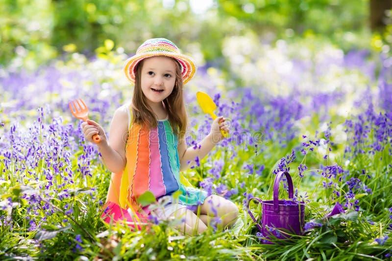 Kids in bluebell garden. Kid in bluebell woodland. Child with flowers, garden tools and wheelbarrow. Girl gardening. Children play outdoor in bluebells, work stock image