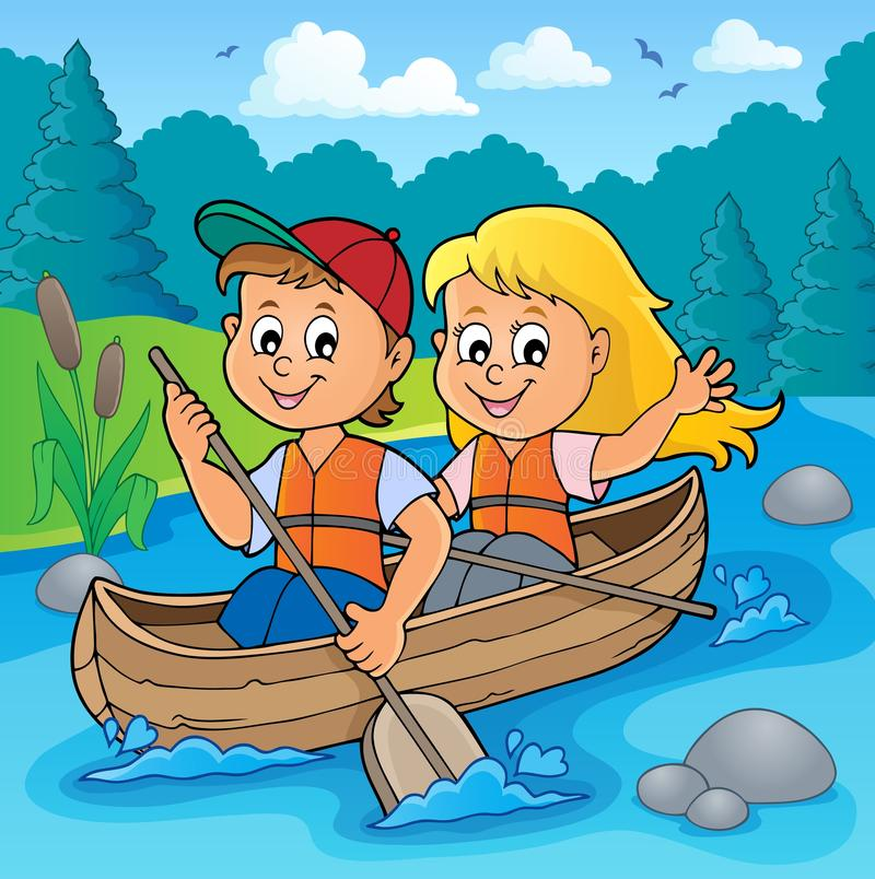 Kids in boat theme image 2. Eps10 vector illustration royalty free illustration