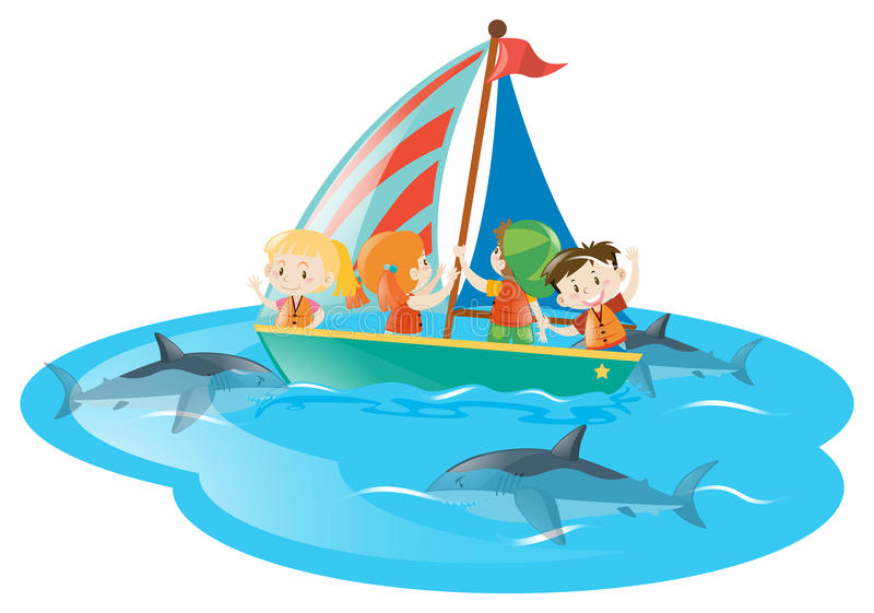Kids on boat watching sharks swimming. Illustration royalty free illustration