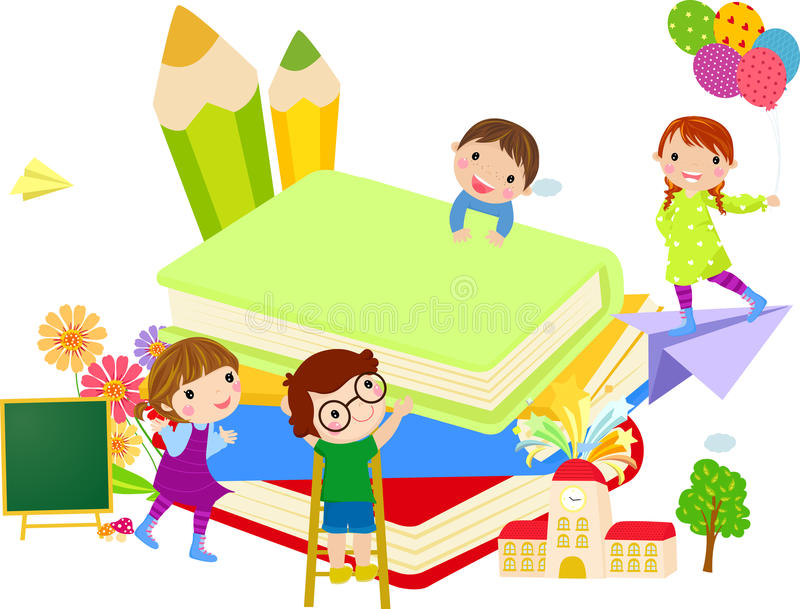 Kids and book royalty free illustration