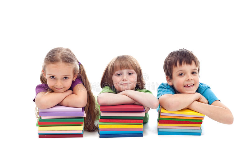 Kids with books stock images