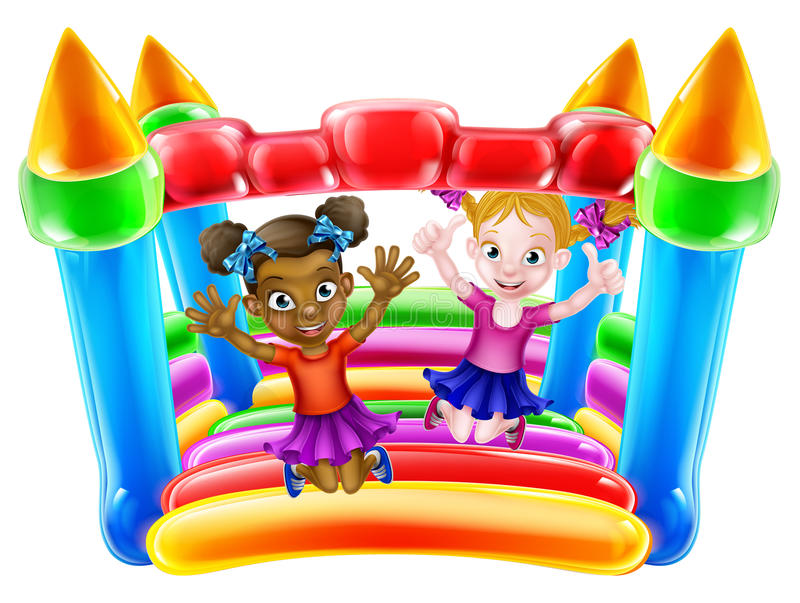 Kids on Bouncy Castle. Two little girls having fun jumping on a bouncy castle vector illustration