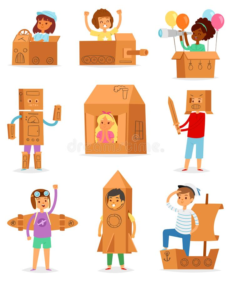 Kids in box vector creative children character playing in boxed house and boy or girl in carton plane or paper ship stock illustration