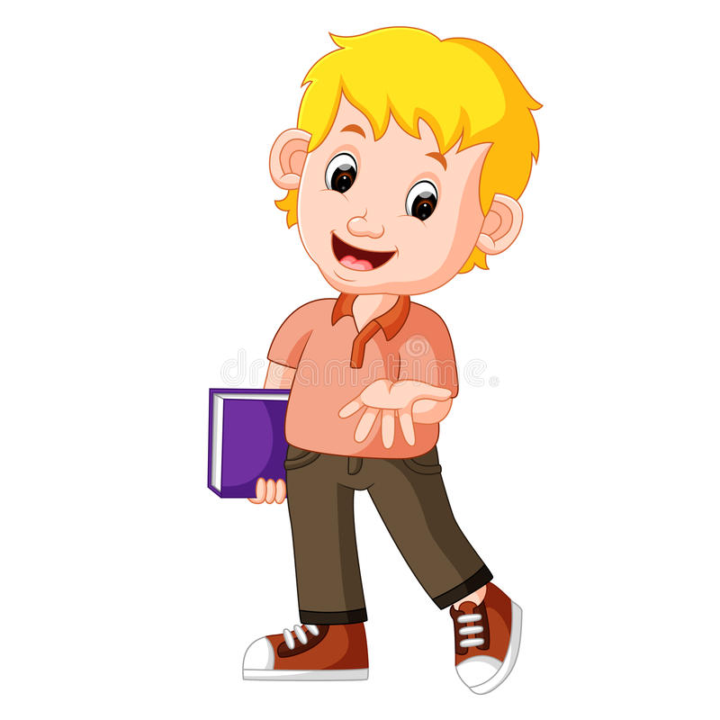 Kids boy carrying book cartoon stock illustration