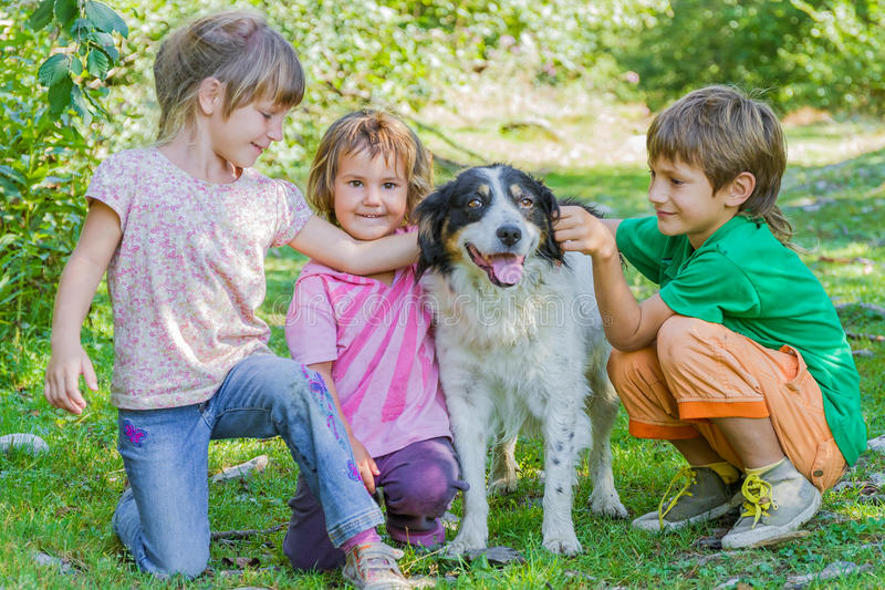 Kids - boy and girl - with dog outdoors. Three kids - boy and girl - with dog outdoors royalty free stock image