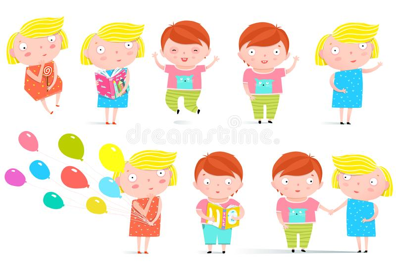 Kids Boy and Girl Isolated Clip Art Collection. Colorful childish character boy and girl graphics. Vector illustration stock illustration