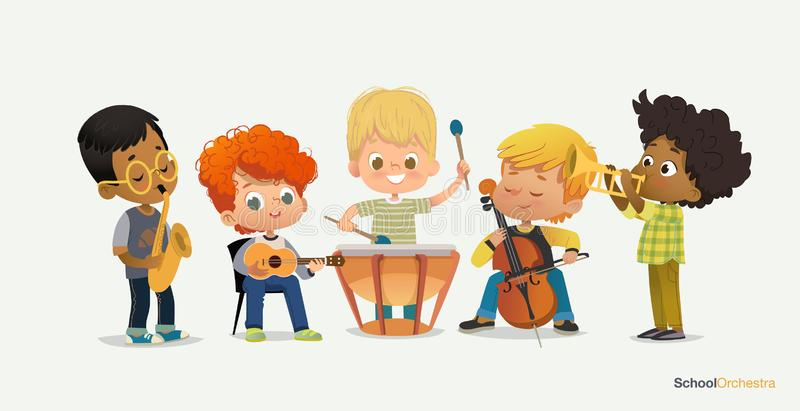 Kids Boy Orchestra Play Different Music Instrument royalty free illustration