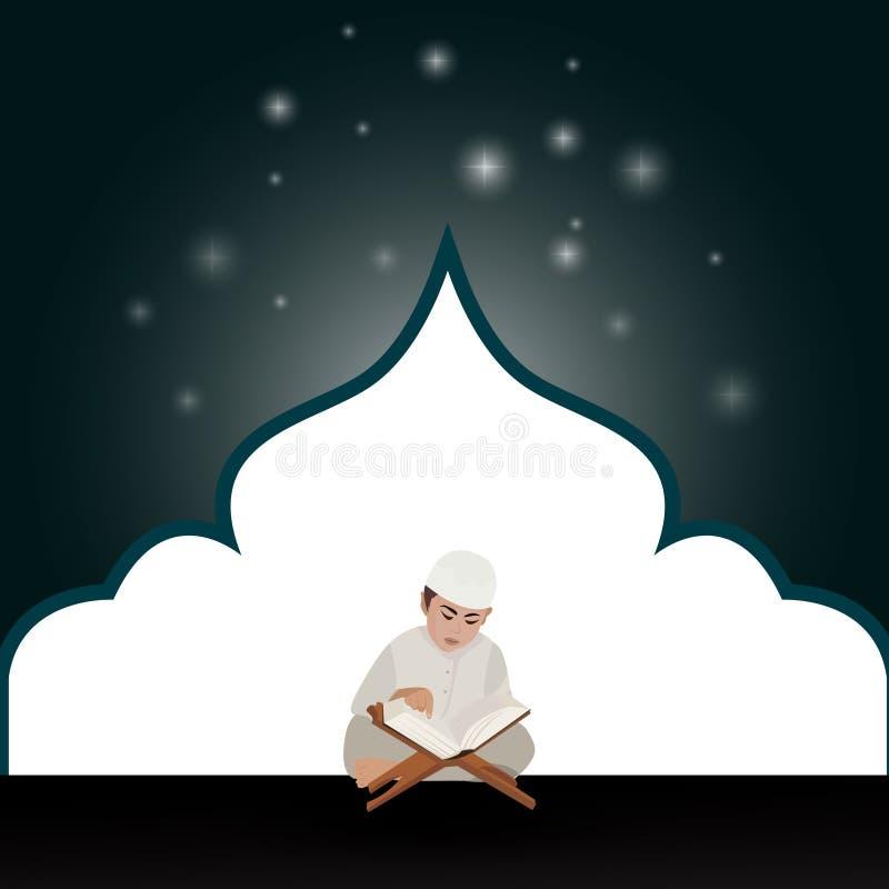 kids boy read holy quran qoran Islam in mosque royalty free illustration