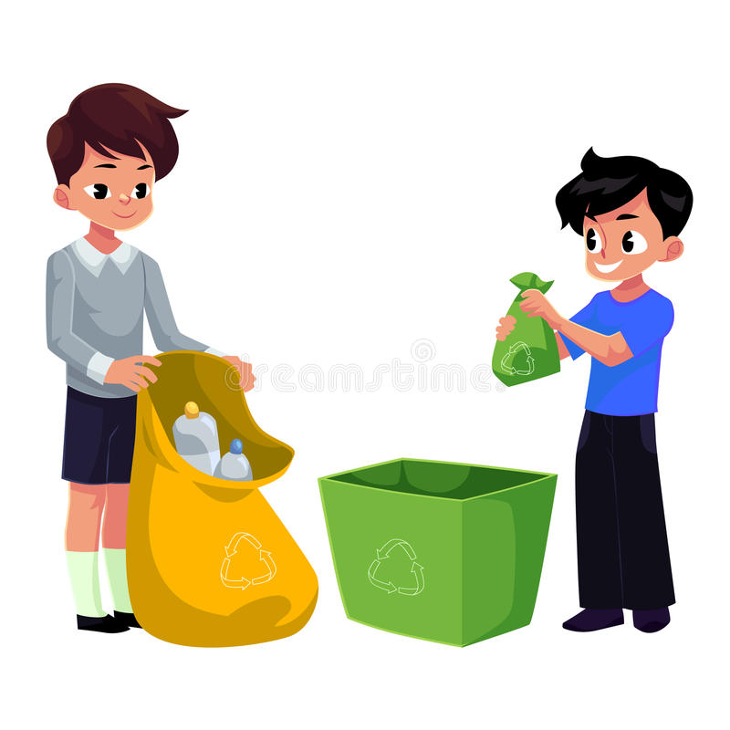 Free Kids, Boys Collect Plastic Bottles Into Garbage Bag, Waste Recycling Stock Photo - 96284450