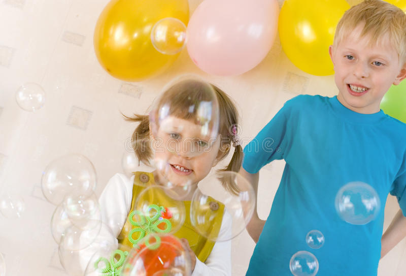 Download Kids and bubbles stock image. Image of balloons, congratulations - 14503923