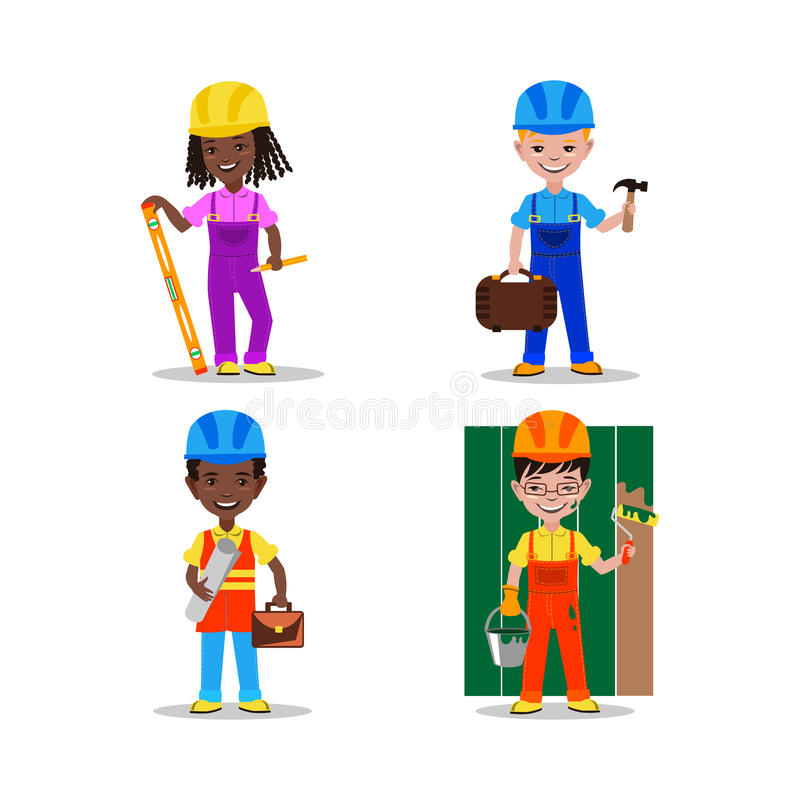 Download Kids Builders Characters Vector Illustration Editorial Image - Image: 83702795