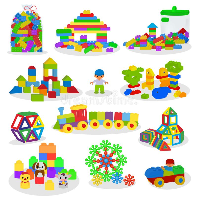 Kids building blocks vector baby toys colorful bricks for construction in playroom where children build or construct vector illustration