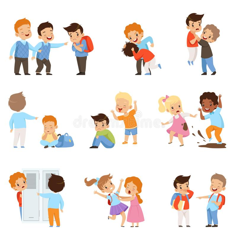 Free Kids Bullying The Weaks Set, Boys And Girls Mocking Classmates, Bad Behavior, Conflict Between Children, Mockery And Royalty Free Stock Image - 130356286