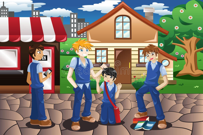 Kids bullying their friend vector illustration