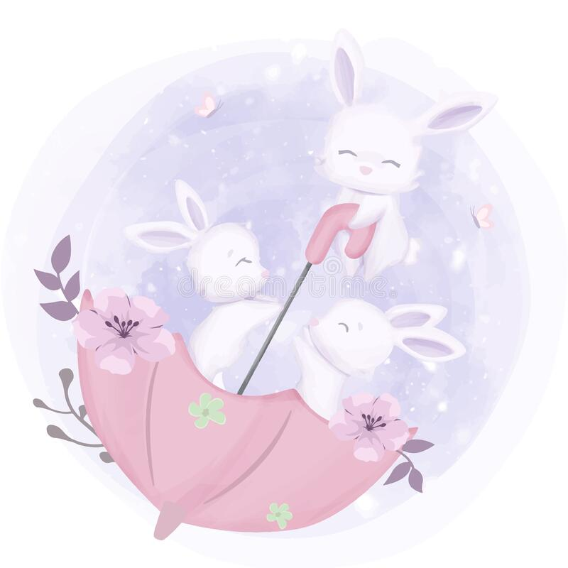 Free Kids Bunnies Playing With Umbrella Royalty Free Stock Photo - 176820805