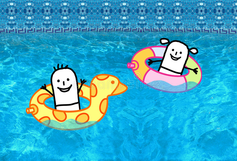 Kids with buoys in swimming pool. Cartoon character - Kids with buoys in swimming pool vector illustration