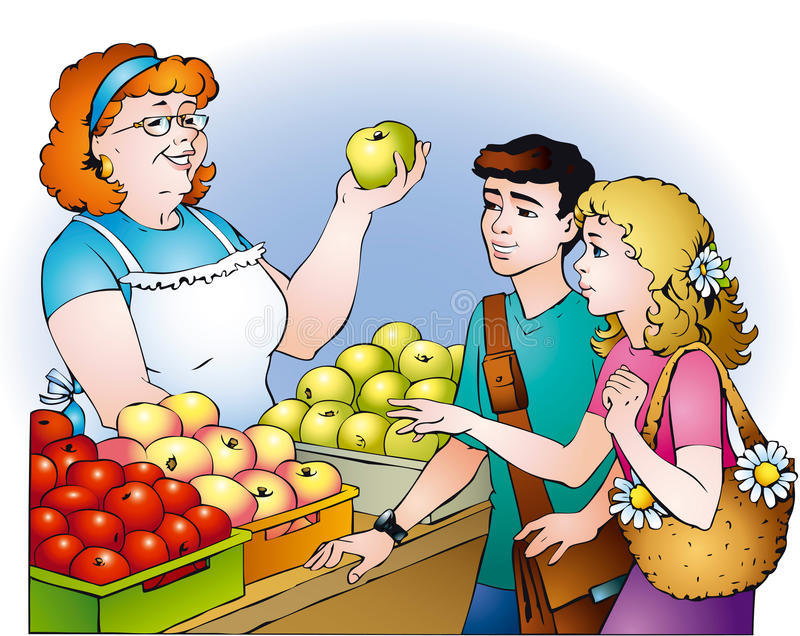 Kids are buying apples stock illustration
