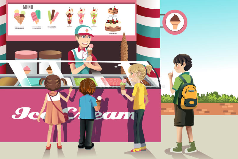 Kids buying ice cream. A vector illustration of kids buying ice cream at an ice cream stand