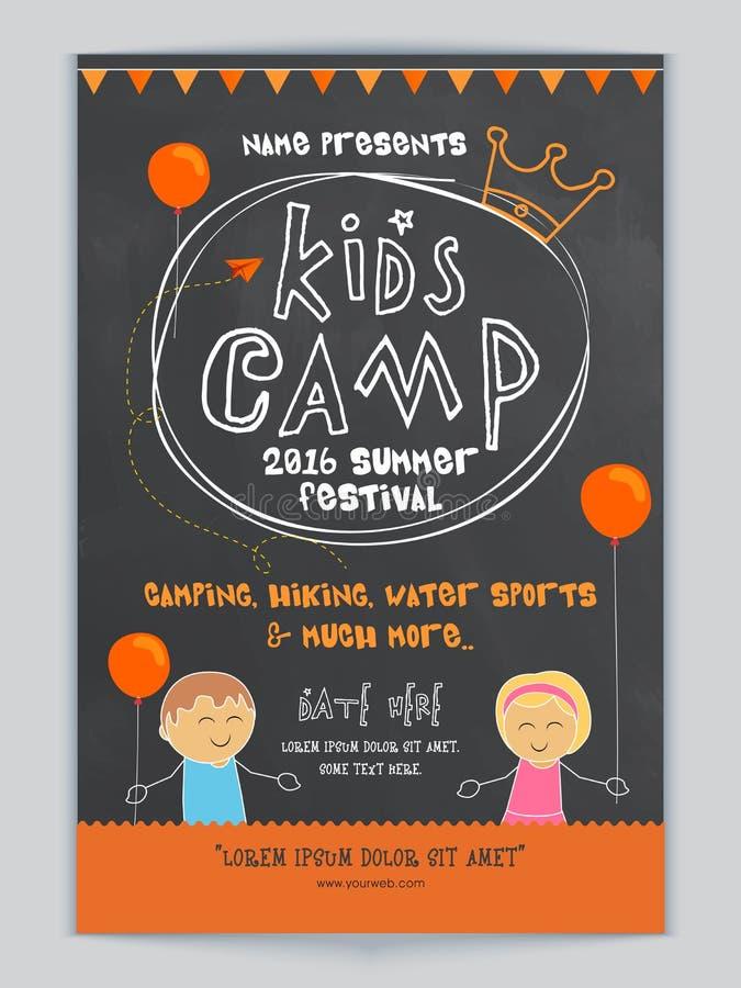 download kids camp template banner or flyer design stock illustration illustration of holiday