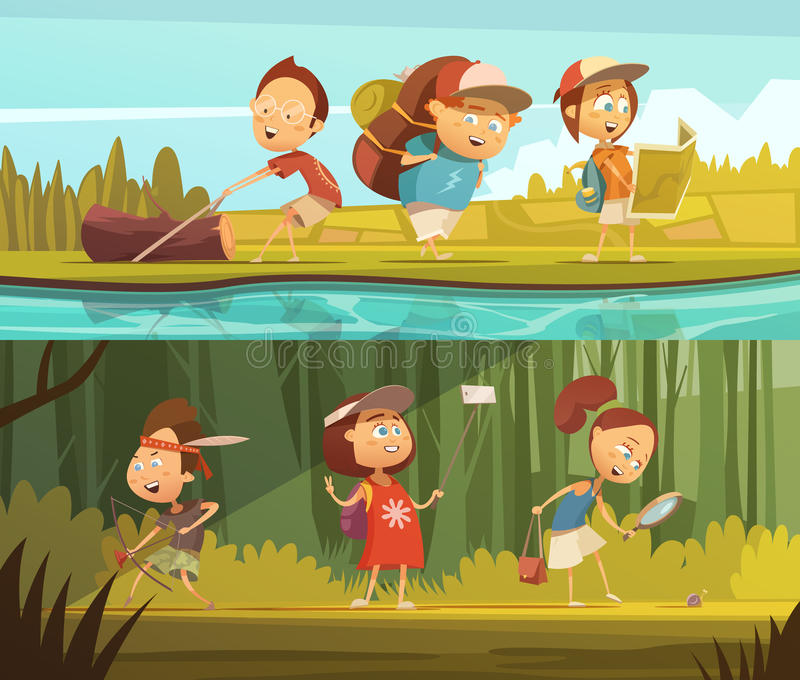 Kids Camping Banners Set royalty free illustration