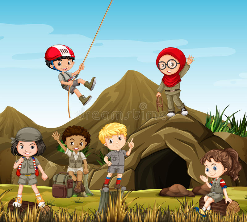 Kids camping out by the cave. Illustration stock illustration