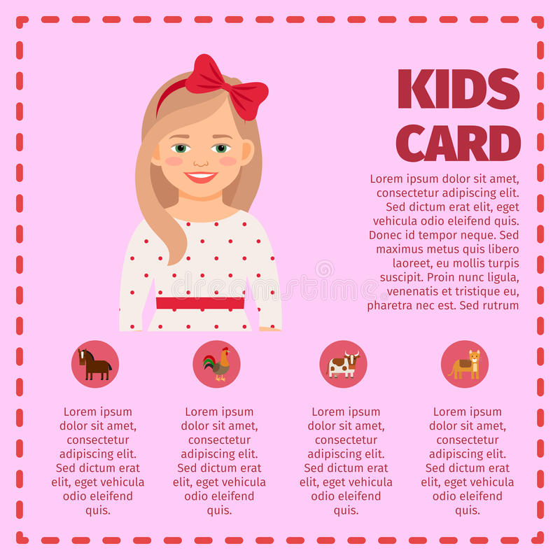 Kids card infographic with cute girl royalty free illustration